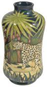 A contemporary Moorcroft Sian Leeper 'Leopard' vase, circa 2001waisted cylindrical vase tubelined