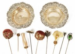 A selection of silver, Charles Horner hat pin and trinkets dishes,the green pear shaped bead with
