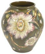 A contemporary Moorcroft Debbie Hancock 'Gustavia' vase, circa 1998baluster tubelined with flower