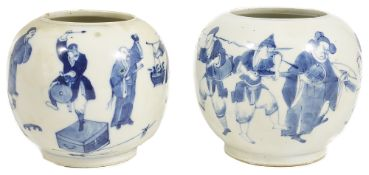 Two Chinese blue and white porcelain jars, circa 1910each painted with a continuous frieze of