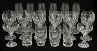 A suite of Baccarat 'Massena' pattern glasses, 20th centuryeach with vertical cuts to body and