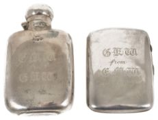 A silver hip flask and a silver cigarette case, Birmingham 1922the hip flask of typical form with