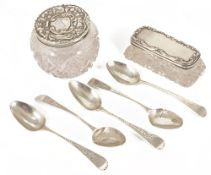 Miscellaneous silver: dressing table containers and spoonscomprising two silver topped dressing