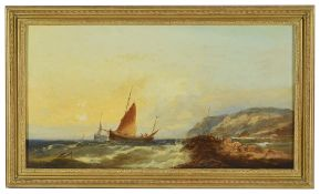 William Henry Williamson (British 1820 - 1883)sailing boats leaving a rocky coastline behind, oil on