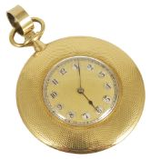 A slim 18ct gold open face engine turned pocket watchthe case marked J. C. Vickery, the gilded