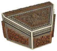 An Anglo Indian Sadeli ware sandalwood stationary box, late 19th century