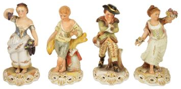 Four Royal Crown Derby the Four Seasons figurines, 20th century, each figurine modelled as a