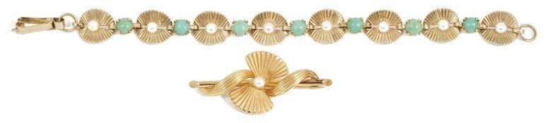 A Continental turquoise and pearl set sunburst link bracelet, circa 1950each rose gold sunburst link