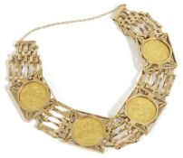 A fine gold half sovereign mounted gold braceletthe six bar 9ct gold bracelet mounted with four fine