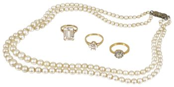 A double row graduated cultured pearl necklace,