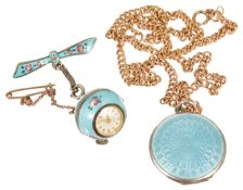An Edwardian pale blue, rose decorated, guilloche enamel silver ball fob watch,