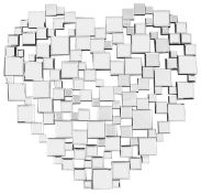 A contemporary mirror in the form of a heart
