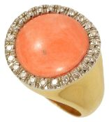 A large circular coral and diamond set cluster cocktail ring,