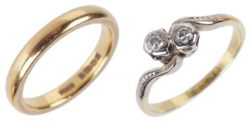 A 22ct gold wedding band together with a two stone diamond ring,