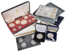 A collection of cased Foreign Coinage