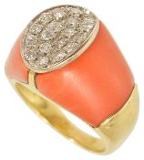 A striking red coral and pave diamond set panel cocktail ring,