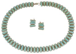 A contemporary Mexican turquoise and silver collar necklace by 'Sanel'