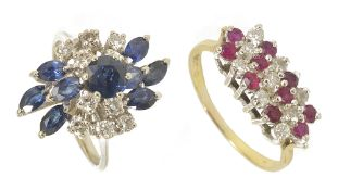 A sapphire and diamond cluster ring and a ruby and diamond ring,
