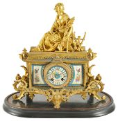 A late 19th century French gilt metal figural clock by Brunfaut