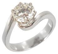 A contemporary single stone diamond set ring, approximately 1.60 ct.,