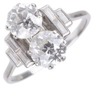 An attractive Art Deco twin diamond set ring