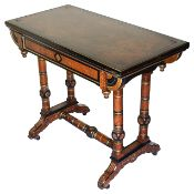 A Victorian ebonised and walnut fold over card table