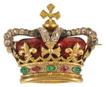 A good quality diamond and gem set enamel crown brooch