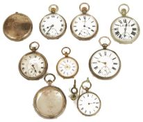 A collection of silver cased open faced pocket watches,