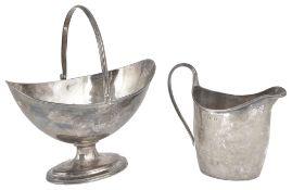 A George III silver pedestal swing handled bon bon basket, hallmarked London 1798