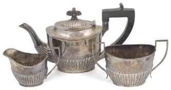 A Victorian three piece silver tea service, hallmarked Chester 1899