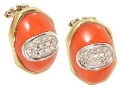 The matching red coral and pave diamond set earrings