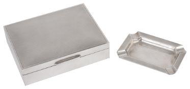 A Mappin & Webb silver cigarette box and silver ashtray