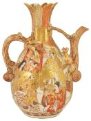 A late 19th Japanese Satsuma wine ewer of organic form, Meji period,