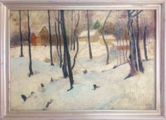 A pair of European woodland winter scenes, early 20th century