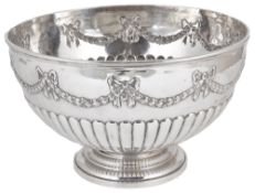 A Victorian silver punch bowl, hallmarked London 1889,