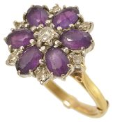 An attractive large amethyst and diamond set cocktail ring
