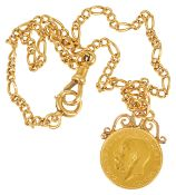 A George V fine gold sovereign with 18ct gold mount and chain