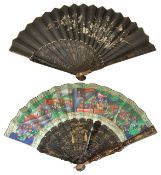 Two Chinese hand painted and lacquer decorated fans