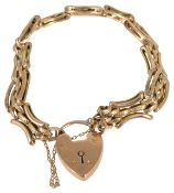 A 9ct gold fancy link gate bracelet