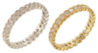 Two matching delicate diamond set full eternity or 'keeper' rings