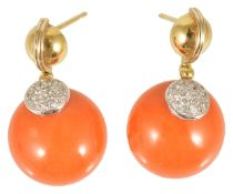 A pair of attractive red coral and diamond Continental circular ear drops,