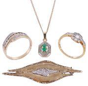 A contemporary 9ct gold diamond set leaf brooch