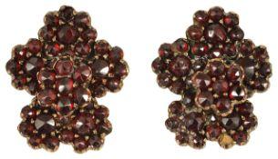 A pair of Victorian Bohemian cut garnet set cluster earrings,