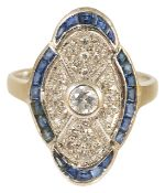 An attractive Art Deco style sapphire and diamond panel ring,