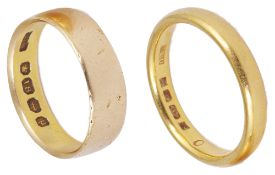 Two 22ct gold wedding bands,