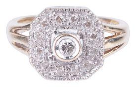 An Art Deco style diamond set panel ring