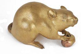 A Japanese polished bronze figure of a rat, Meiji period,