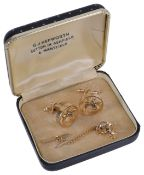 A pair of vintage gilt and enamel equestrian cufflinks and matching tie stud