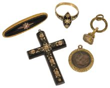 A Georgian enamelled memorial ring and four other memorial items,