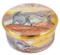 A Moorcroft S Smith 'Zebra Finch' enamel vase and a Moorcroft Peter Graves 'Badgers Moon' enamel box